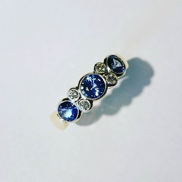 Sapphire and Diamond Platinum and Gold Ring