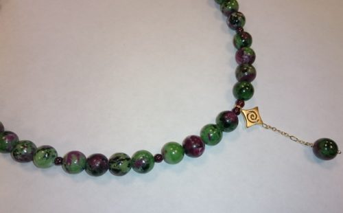 Zoisite with Ruby Gold Necklace