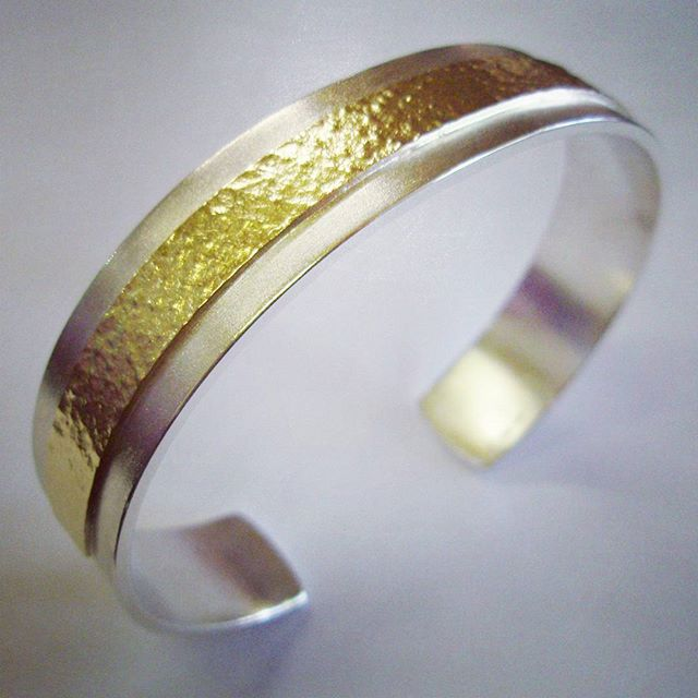 Silver and Gold Gent's Bangle