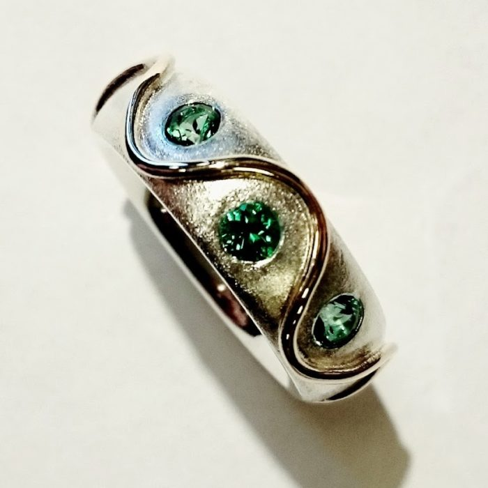 Silver Gold and Topaz Ring