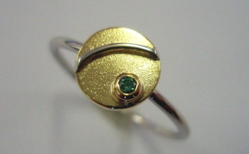 Green Diamond Gold Platinum Ring