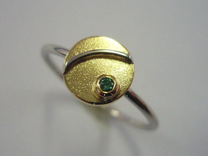 Green Diamond Gold Platinum Ring