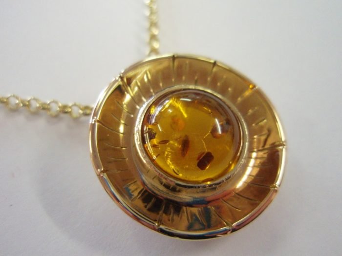Sun Necklace, Amber and Gold
