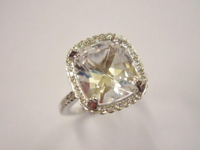 White Sapphire and Diamond Ring